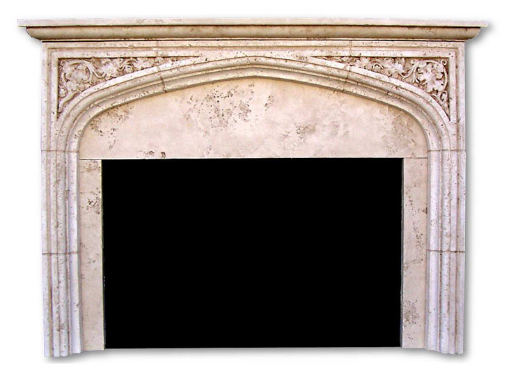 Mantels cast stone fireplace design for Tudor style fireplace